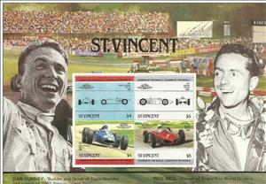 Souvenir Sheet, Dan Gurney and Phil Hill, Saint Vincent and The Grenadines,  , Anniversaries and Jubilees, Motor Racing, Racing Cars, Racing Drivers