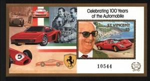 Souvenir Sheet, Enzo Ferrari and 1966 Ferrari Dino 206SP, Saint Vincent and The Grenadines,  , Anniversaries and Jubilees, Cars, Engineers