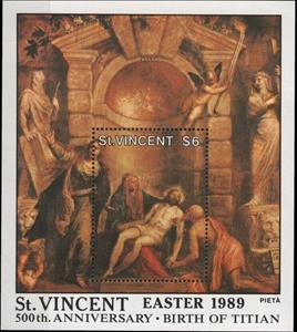 Souvenir Sheet, The pity by Titian, Saint Vincent and The Grenadines,  , Anniversaries and Jubilees, Easter, Painters, Paintings