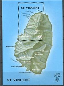 Souvenir Sheet, Map of the Island, Saint Vincent and The Grenadines,  , Anniversaries and Jubilees, French Revolution, Maps, Philatelic Exhibitions