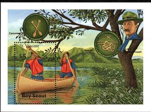Souvenir Sheet, Canoeing, merit badges, Saint Vincent and The Grenadines,  , Anniversaries and Jubilees, Scouting, Seals (Emblems)