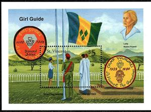 Souvenir Sheet, Flag-raising, Camp Yourumei, 1985, Saint Vincent and The Grenadines,  , Anniversaries and Jubilees, Flags, Scouting, Seals (Emblems)