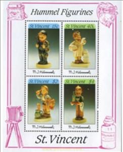Souvenir Sheet, Hummel Figurines, Saint Vincent and The Grenadines,  , Art