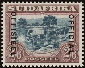 Stamp, Ox-wagon inspanned, South Africa,  , Animals (Fauna), Carriages, Cattle, Landscapes, Mammals, Trees, Vehicles