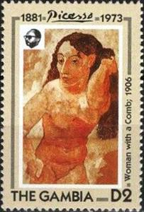 "Stamp, ""Woman with Comb"" 1906, Gambia,  , Nudes, Paintings"