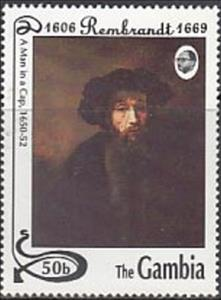 "Stamp, ""A Man in a Cap"" - Rembrandt, Gambia,  , Art, Paintings"