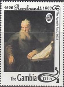 "Stamp, ""The Apostel Paul"" - Rembrandt, Gambia,  , Art, Paintings"