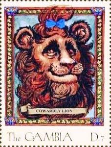 Stamp, Cowardly Lion, Gambia,