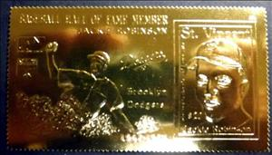 Stamp, Jackie Robinson, Saint Vincent and The Grenadines,  , Baseball, Famous People, Seals (Emblems)