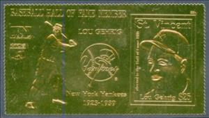 Stamp, Lou Gehrig, Saint Vincent and The Grenadines,  , Baseball, Famous People, Seals (Emblems)