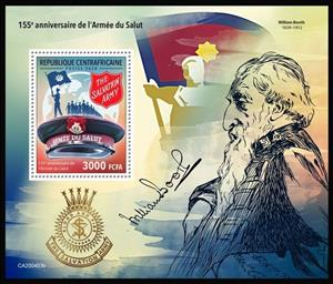 Souvenir Sheet, 155th Anniversary of the Salvation Army, Central African Republic,  , Anniversaries and Jubilees, Organizations