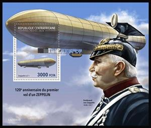 Mini Sheet, Zeppelin LZ 1, Central African Republic,  , Anniversaries and Jubilees, Zeppelins