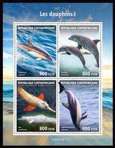 Mini Sheet, Various Dophins I, Central African Republic,  , Dolphins, Sea Life