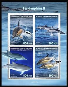Mini Sheet, Various Dophins II, Central African Republic,  , Dolphins, Sea Life