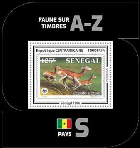 Souvenir Sheet, Dama Gazelle (Gazella dama), Central African Republic,  , Animals (Fauna), Antelopes, Mammals