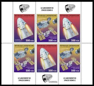 Mini Sheet, The Launch of Spacex Demo-2, Central African Republic,  , Outer Space, Space Traveling, Spacecrafts