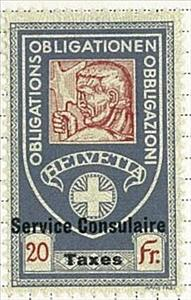 Stamp, Consular - Man With Axe, Switzerland,
