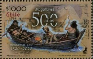 Stamp, Native Americans in Rowboat, Chile,  , Explorers, Famous People, Rowing Boats
