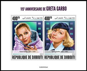 Mini Sheet, 115th Anniversary of the Birth of Greta Garbo, Djibouti,  , Actors, Famous People