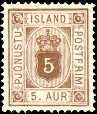 Stamp, Figure with crown, Iceland,  , Numbers
