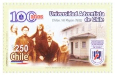 Stamp, 100 Years Chile Adventist University, Chile,  , Religion, Universities