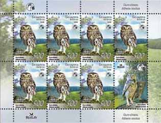 Sheetlet Little owl (7stamps +1 coupon)
