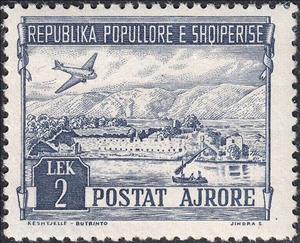 Stamp, Douglas DC-3 over Fortress Butrint, Albania,  , Landscapes, Aviation, Aircrafts