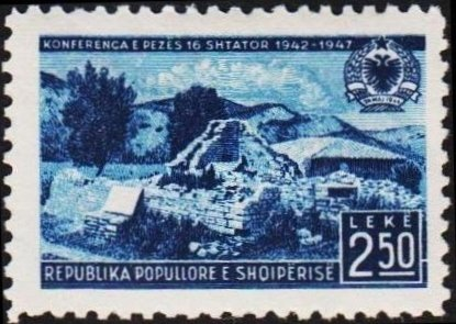 Stamp, Ruins of the Conference-Building, Albania,