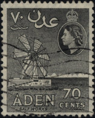 Stamp, Salt production, Aden,  , Economy, Queens