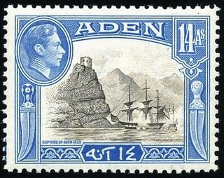 Stamp, Capture of Aden, Aden,  , Landscapes, Kings, Coastal Areas, Sailing Ships
