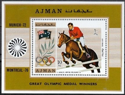 Souvenir Sheet, Hans Winkler - Show jumping, Ajman,  , Olympic Games, Equestrianism and horse riding