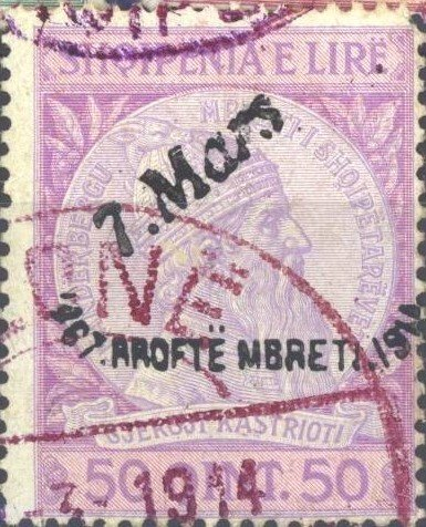 "Former Issue with overprint by hand ""7. Mars"""