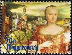 Queen Maria Theresia and a rider from Royal Horse Guard