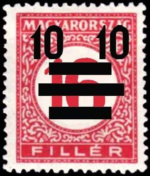 Overprinted with new value, perf. 14