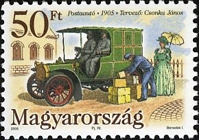 Stamp, First Hungarian Mail Vehicle, centenary, Hungary,  , Vehicles, Postal Services, Commemoration, Cars