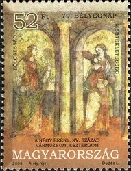 79th Stamp Day - The Four Virtues, Frescos from Esztergom