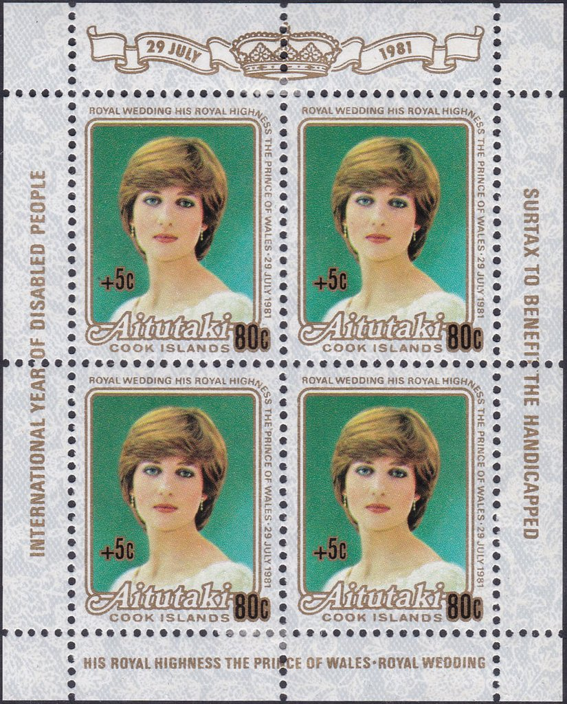 Lady Diana Spencer, surcharged +5c