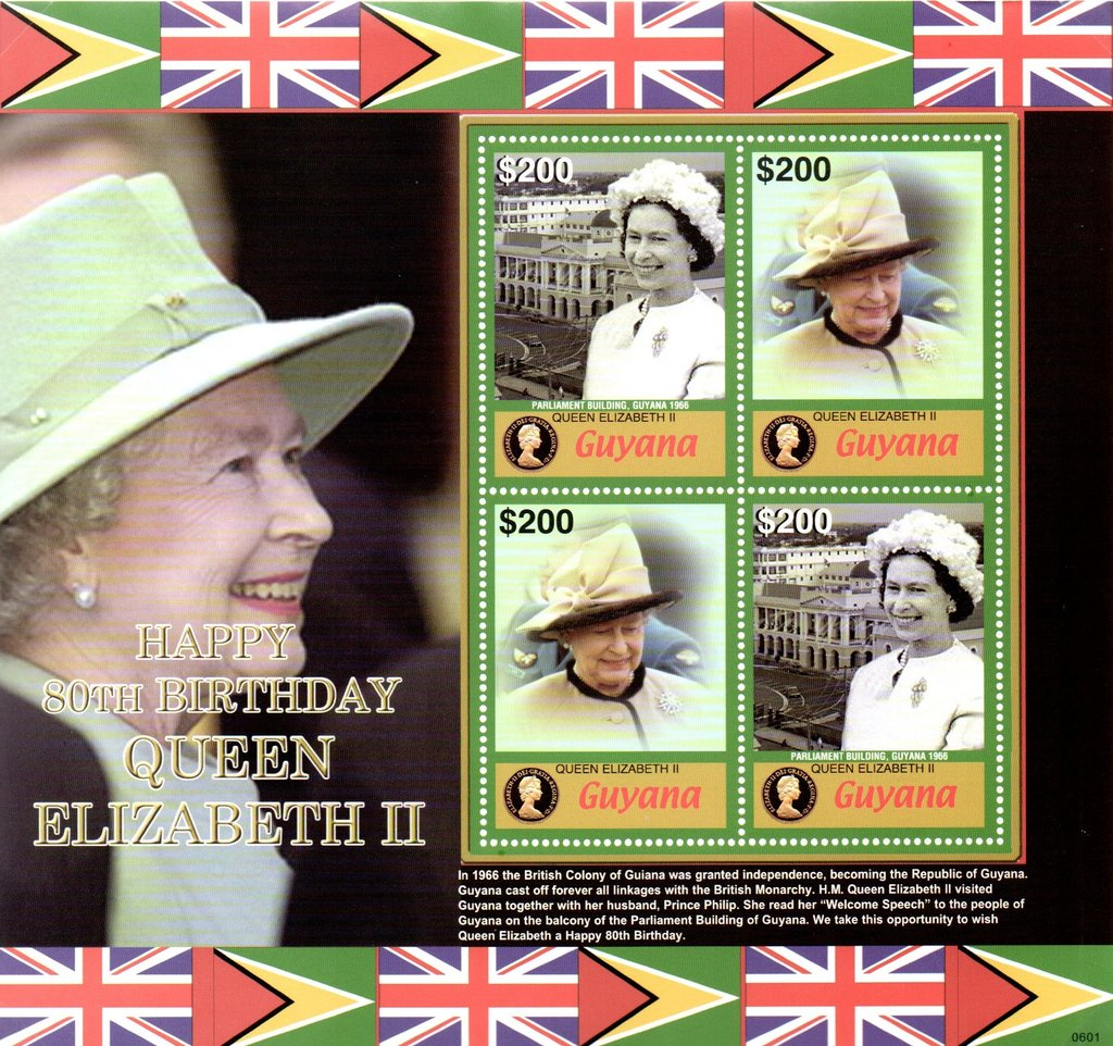 4 stamps featuring the Queen in two designs