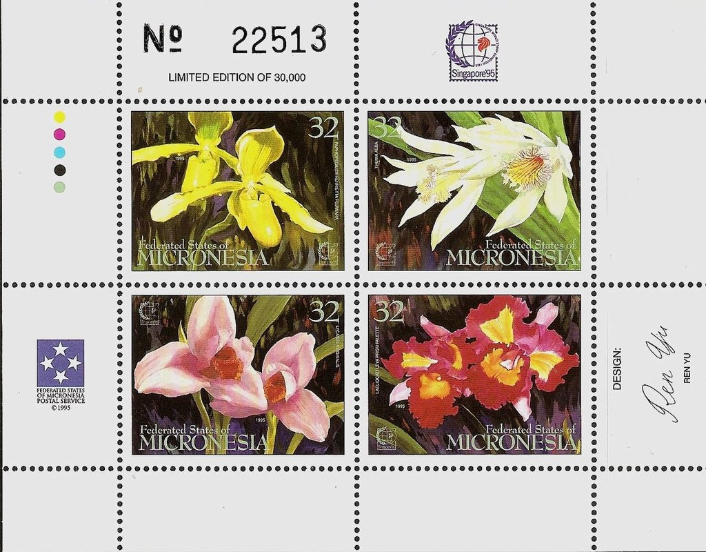 "International Stamp Exhibition ""Singapore '95"" - Orchids"