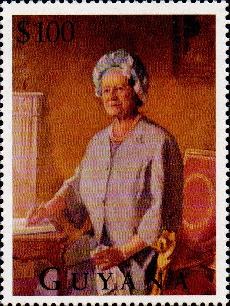 Oil painting of the Queen Mother at a desk
