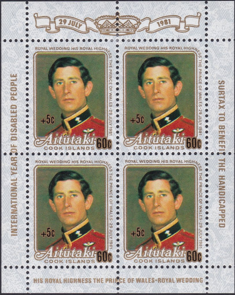 Prince Charles, surcharged +5c
