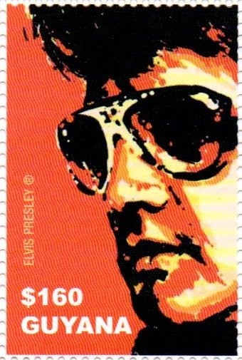 Elvis with sunglasses and red background
