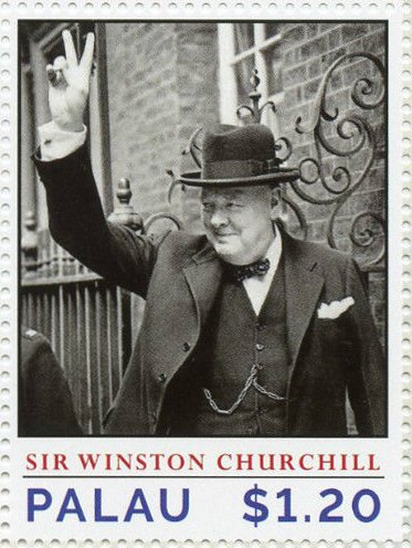 "Churchill giving the Victory ""V"" sign, May 1943"