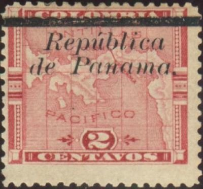 Map of the Panama isthmus Overprinted