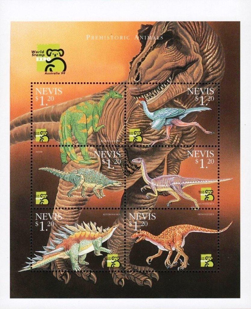 Nevis 1999 Sheet of Six Dinosaurs MNH