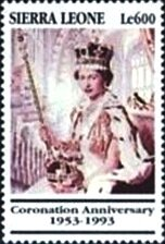 Stamp, Official coronation, Sierra Leone,  , Anniversaries and Jubilees, Famous People, Queens, Royalty, Women