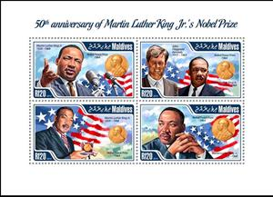 Mini Sheet, 50th Anniv. of Martin Luther King Jr.'s Nobel Prize, Maldives,  , Famous People, Nobel Laureates