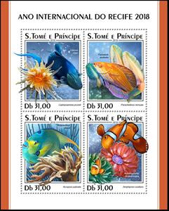 Mini Sheet, International Year of the Reefs 2018, São Tomé and Príncipe,  , Animals (Fauna), Corals and Sponges, Fishes, Sea Life