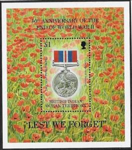 Souvenir Sheet, 50th Anniversary of End of WW2, British Indian Ocean Territory,  , Anniversaries and Jubilees, Medals and Marks of Honour, Second World War