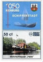 "Stamp, Motorschlepper ""Halle"", Germany, Modern Private Post Offices,  , Ships"